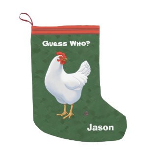 Funny Guess Who Chicken Poo White Hen Small Christmas Stocking