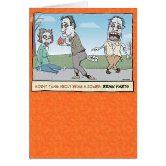 Funny Halloween Card: Zombie Brain Farts Card