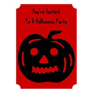 Funny Halloween pumpkin with cut out face 13 Cm X 18 Cm Invitation Card