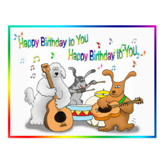 Funny Happy Birthday card with dogs playing Postcard