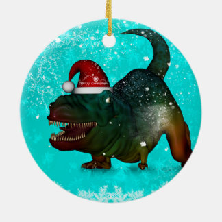 Funny, happy  T-rex wish you a merry christmas Christmas Ornament