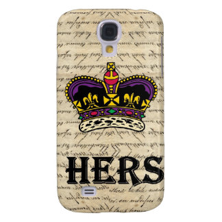 Funny hers text & crown galaxy s4 case