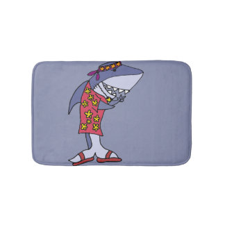 Funny Hippy Shark at the Beach Bath Mat