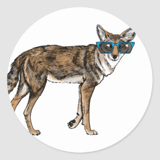 Funny Hipster Coyote with Sunglasses Classic Round Sticker