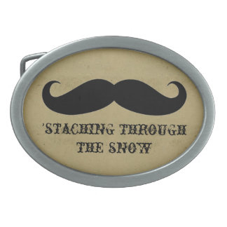Funny hipster mustache holiday xmas mustaches belt buckles