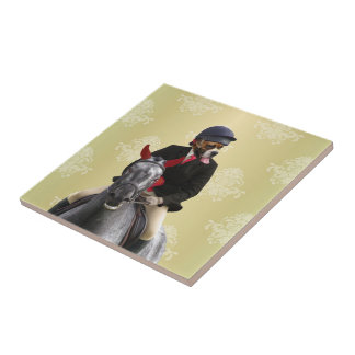 Funny horse rider character tile