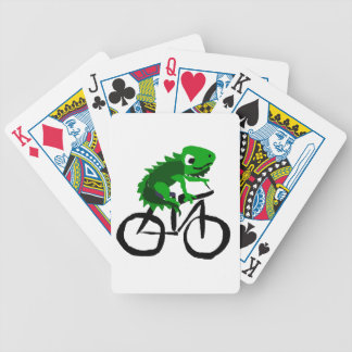 Funny Iguana Riding Bicycle Bicycle Playing Cards