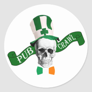 Funny Irish pub crawl Classic Round Sticker