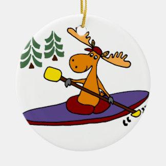 Funny Kayaking Moose Christmas Ornament