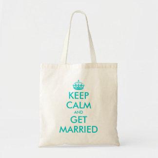 Funny Keep Calm wedding tote bag for bridesmaid