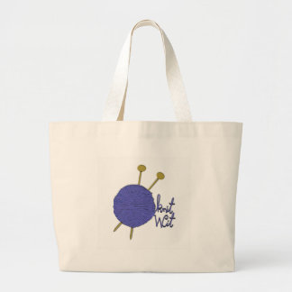 funny knitting large tote bag