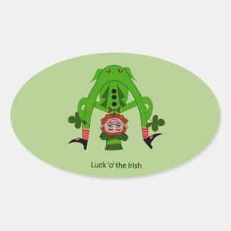 Funny Leprechaun Oval Sticker