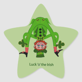 Funny Leprechaun Star Sticker