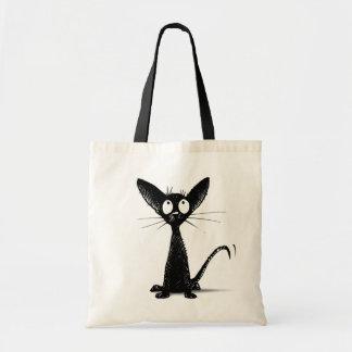 Funny Little Black Oriental Cat Tote Bag