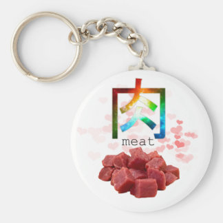 Funny meat japanese colorful fun design basic round button key ring