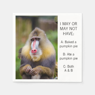 Funny Monkey Ate a Pumpkin Pie Paper Napkin