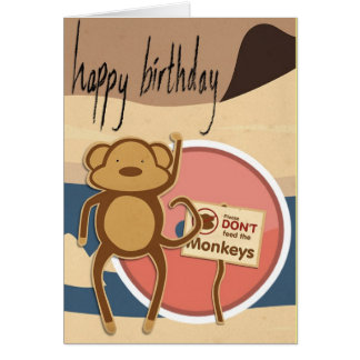 Funny Monkey Happy Birthday Cute Card