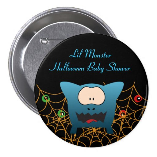 Funny Monster Baby Shower Buttons