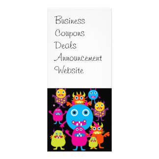 Funny Monster Bash Cute Creatures Party Rack Card Design