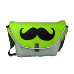 Funny Moustache on Yellow Green Background Messenger Bags