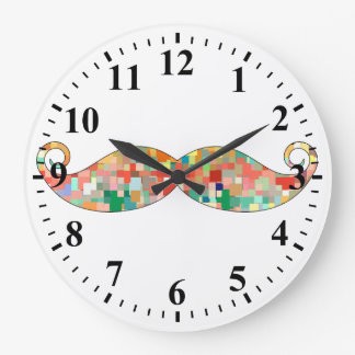 Funny Mustache Mosaic Pattern Wall Clocks