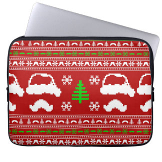 Funny Mustache  Ugly Christmas Sweater Laptop Sleeve
