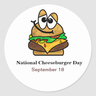 Funny National Cheeseburger Day Stickers /Name Tag