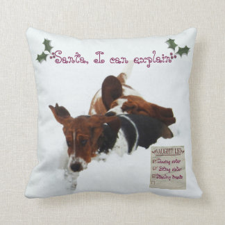 "Funny ""Naughty List"" w/Basset Hound in Snow Pillow"