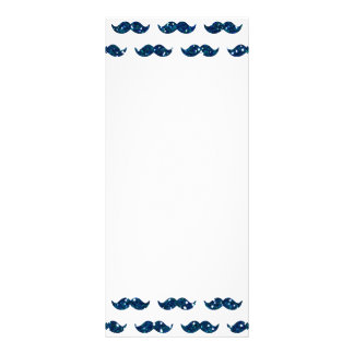 Funny Navy Blue Glitter Mustache Pattern Printed Rack Card Design
