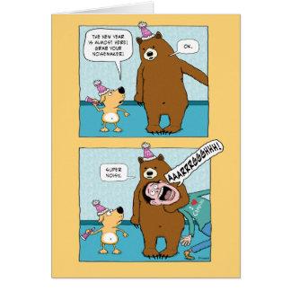 Funny New Year's Card: Bear Noisemaker Card