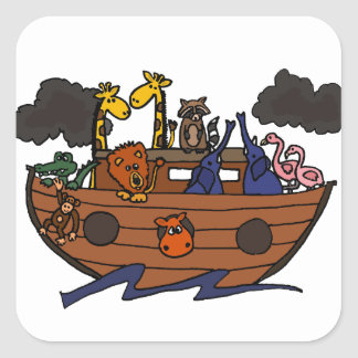 Funny Noah's Ark Cartoon Square Sticker