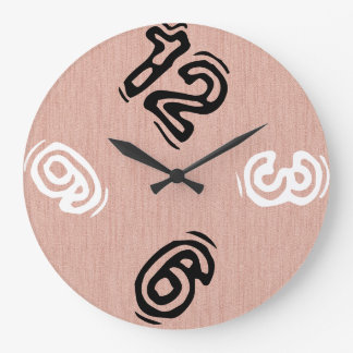 Funny Number with Pink Wood Grain Large Clock