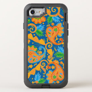 Funny orange floral Paisley Pattern OtterBox Defender iPhone 7 Case