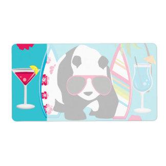 Funny Panda Bear Beach Bum Cool Sunglasses Surfing Shipping Label