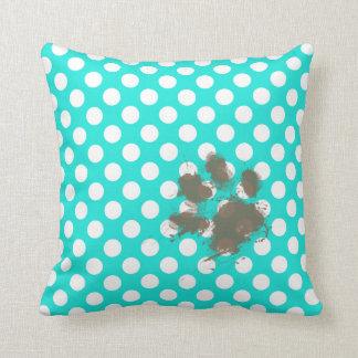 Funny Pawprint; Aqua Color Polka Dots Cushion