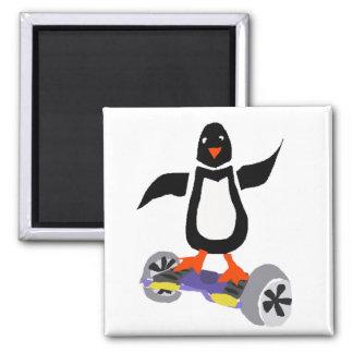 Funny penguin on Motorized Skateboard Magnet