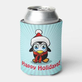 Funny Penguin Santa Claus Can Cooler