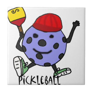 Funny Pickleball Ball Character Cartoon Tile