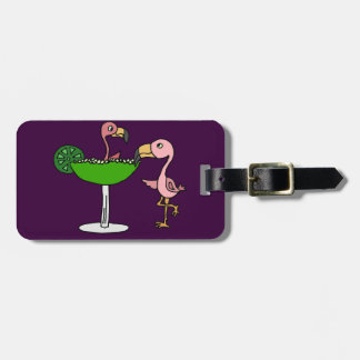 Funny Pink Flamingo and Margarita Luggage Tag