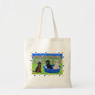 Funny Pool Party Labradors Tote Bag