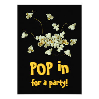 Funny Popping Popcorn Party Invitation Template