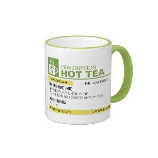 Funny Prescription Hot Tea - Lime Green Ringer Mug