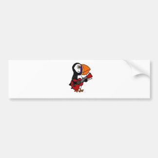 Funny Puffin Bird Playing Guitar Artwork Bumper Sticker