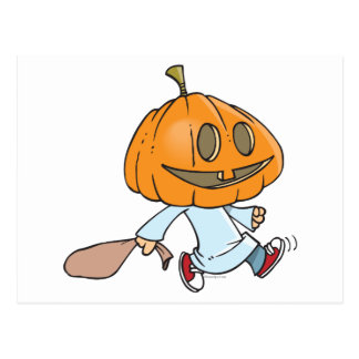 funny pumpkin head trick or treater post cards