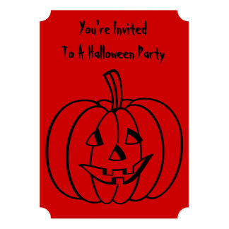 Funny pumpkin with cut out face halloween party 13 cm x 18 cm invitation card