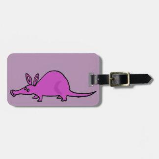 Funny Purple Aardvark Cartoon Luggage Tag