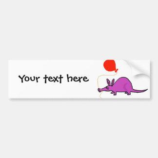Funny Purple Aardvark with Orange Balloon Bumper Sticker