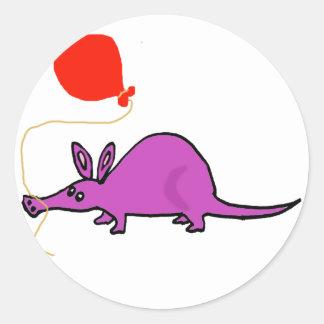 Funny Purple Aardvark with Orange Balloon Classic Round Sticker