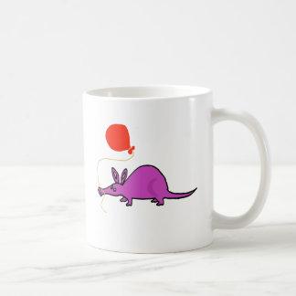 Funny Purple Aardvark with Orange Balloon Coffee Mug