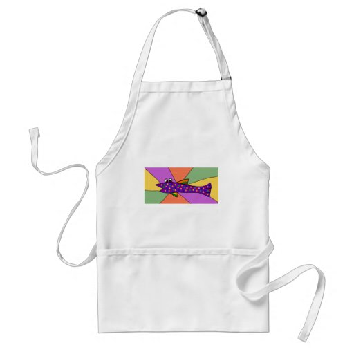 Funny Purple Spotted Fish Art Aprons
